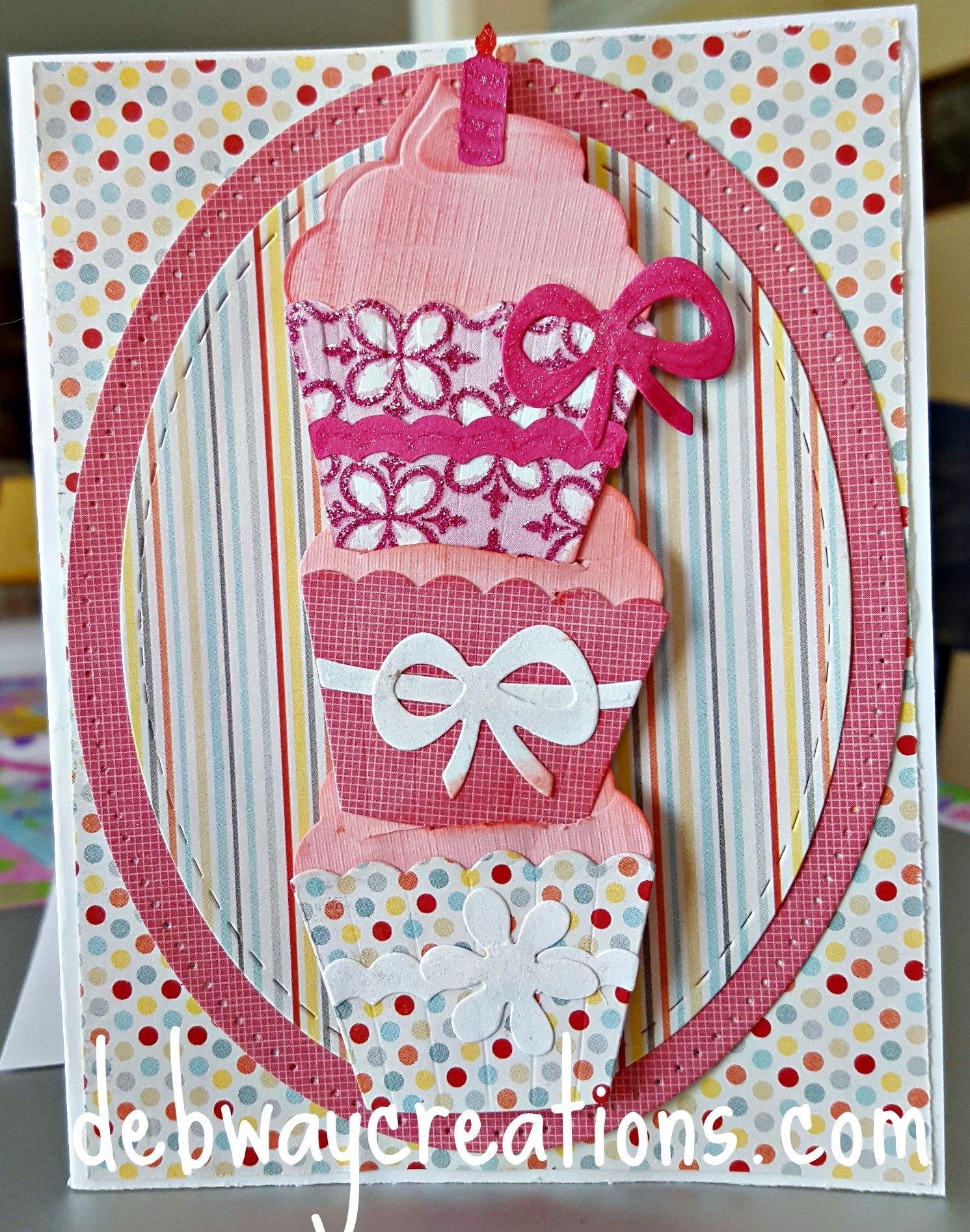 Elizabeth Craft Designs Cupcake Birthday Card Debwaycreations